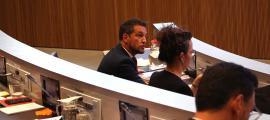 El president del grup socialdemòcrata, Pere López, en una intervenció.