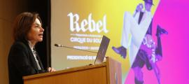 La ministra de Turisme, Verònica Canals, durant el balanç de 'Rebel', ahir.