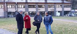 Els candidats del PS+I al parc Central d'Andorra la Vella, ahir.