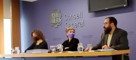 Judith Salazar, Susanna Vela i Carles Sánchez en la compareixença d'aquest migdia.