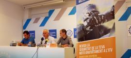El secretari general de l'ACA Antoni Sasplugas, el president de l'ACA Enric Pujal i el director d'ITV Serveis Jordi Marcos, ahir.