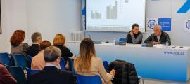 Antoni Sasplugas i Enric Pujal, secretari general i president de l'ACA, respectivament, en la presentació de l'Imaca 2017, ahir.