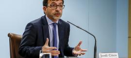 El ministre de Finances i portaveu de l'executiu en funcions, Jordi Cinca, durant la compareixença d'ahir.