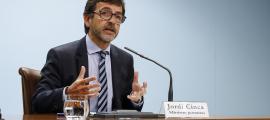 El ministre de Finances i portaveu de l'executiu, Jordi Cinca, en la compareixença d'ahir.