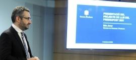 El ministre de Finances, Eric Jover, en la compareixença on va presentar el pressupost per aquest any 2021.