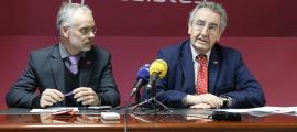 El president de Progressistes-SDP, Jaume Bartumeu, i el candidat a cap de Govern, Josep Roig, en una compareixença anterior.