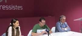 Laia Moliné, Josep Lluís Donsión i Jaume Bartumeu en la roda de premsa d'ahir.
