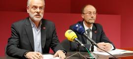 Josep Roig i Víctor Naudi en la roda de premsa que van oferir ahir.