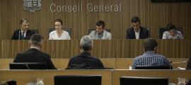 La ministra de Medi Ambient, Agricultura i Sostenibilitat, Sílvia Calvó, durant la seva compareixença davant la comissió.