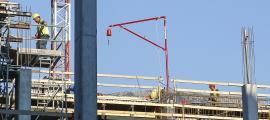 Treballadors de la construcció en una obra a Andorra la Vella.