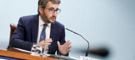 El ministre de Finances i portaveu del Govern, Èric Jover, en la compareixença d'ahir.