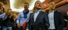 El candidat de Demòcrates, Xavier Espot, al moment d'arribar a l'hotel on la formació va seguir l'escrutini dels comicis.