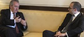 Jaume Bartumeu, amb el secretari d'Estat d'Afers Exteriors de San Marino, Nicola Renzi.
