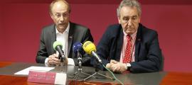 Víctor Naudi i Jaume Bartumeu en la compareixença d'ahir.