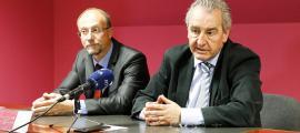 El conseller general d'SDP, Víctor Naudi, i el president de la formació, Jaume Bartumeu, en una compareixença anterior.