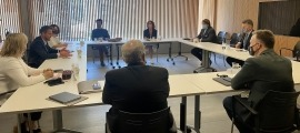 El representant del Parlament Europeu Andreas Schwab en la reunió amb la comissió legislativa d'Afers Exteriors, avui.
