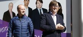 Carles Naudi amb Josep Maria Rossell, el primer suplent de la candidatura de Ciutadans Compromesos, ahir.