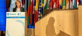 La ministra durant la seva intervenció a la conferència general de la Unesco.