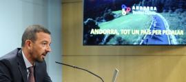 """El ministre d'Ordenament Territorial, Jordi Torres, va fer ahir balanç de la campanya """"Andorra, Territori Ciclista""""."""