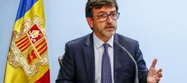 Jordi Cinca en la seva darrera compareixença com a portaveu de l'executiu.