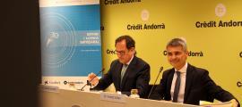 El director general de Crèdit Andorrà, Xavier Cornella, i el president de la Trobada Empresarial, Vicenç Voltes, van presentar el certamen.
