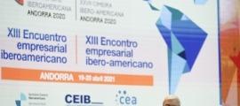 El president de la CEA, Gerard Cadena, en la sessió inaugural de la 13a Trobada Empresarial Iberoamericana.
