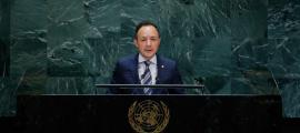 Un moment de la intervenció del cap de Govern, Xavier Espot, davant el plenari de la 74a Assemblea General de Nacions Unides.