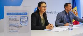 Jessica Gastó i Jordi Gallardo de Liberals d'Andorra, en la roda de premsa d'ahir.