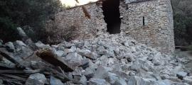 La torre circular de Sant Vicenç d'Enclar, enfonsada el mes de desembre passat.