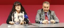 Meritxell Pujol i Jaume Bartumeu en la roda de premsa d'ahir.