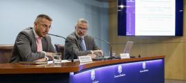 El secretari d'Estat de Salut, Joan León, i el doctor Lluís Serra van presentar els resultats de la segona enquesta nutricional.