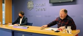 Pere López i Jordi Font en la compareixença d'aquesta tarda al Consell General.
