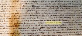 El pergamí del 1543 recull una sentència de delimitació de termes on s'esmenten les falles.