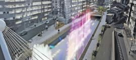 El projecte que preveu una font de llums de colors al riu Valira.
