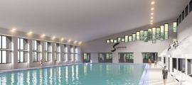 Recreació de com quedarà la nova piscina del centre esportiu Els Serradells.