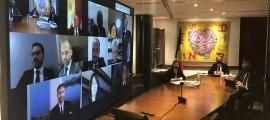 Una sessió de consell de comú anterior del Comú d'Encamp celebrada de forma telemàtica.