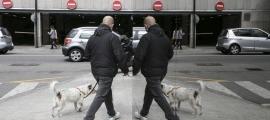 Un home passeja un gos pel centre d'Andorra la Vella.