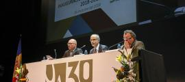 El rector de l'UdA, Miquel Nicolau; el cap de Govern, Toni Martí; i el cònsol menor, Julià Call, en la presentació del nou curs, ahir.