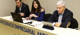 Galabert, Ambor i Cadena van intervenir en la presentació d'AndBlockchain a la seu de la CEA, ahir a la tarda.