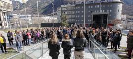 Un moment de l'acte organitzat per Acció Feminista d'Andorra amb motiu del Dia de la dona treballadora, l'any passat.