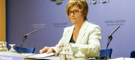 La subsíndica, Meritxell Palmitjavila, després de la reunió de la junta de presidents.