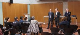 Naudi, Roig i Bartumeu durant la seva reunió amb representants de la policia a Escaldes-Engordany.