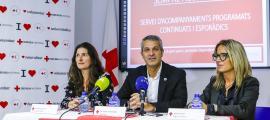 Leclerc, Fernández i Arias van presentar 'Sempre acompanyats' a la seu de l'entitat, ahir.