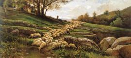 'Paisatge amb ramat d'ovelles', de Joaquim Vayreda (oli sobre tela, 79,5 per 154,5 centímetres, cap al 1881).