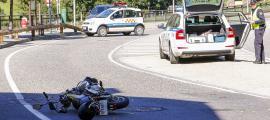Una de les motocicletes accidentades.