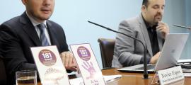 Xavier Espot, ministre d'Afers Socials, Justícia i Interior, i Gorka Aixàs, president del BC Morabanc Andorra, ahir.