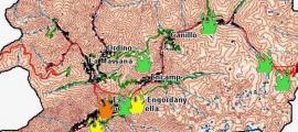 El mapa d'ahir a la tarda mostrava perill molt alt d'incendi en zones d'Andorra la Vella.