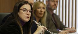 La ministra de Cultura i Esports, Sílvia Ria, en un moment de la compareixença d'ahir.