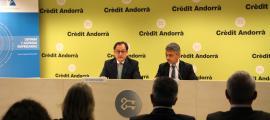 Un moment de la presentació de la trobada a la seu de Crèdit Andorrà.