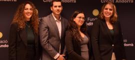 Els quatre becaris que han obtingut una beca de la Fundació Crèdit Andorrà el 2018 i el 2019.